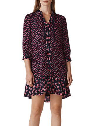 Whistles Isabella Printed Shirt Dress, Pink/Multi