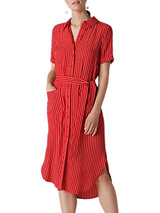 Whistles Montana Shirt Dress, Red/Multi