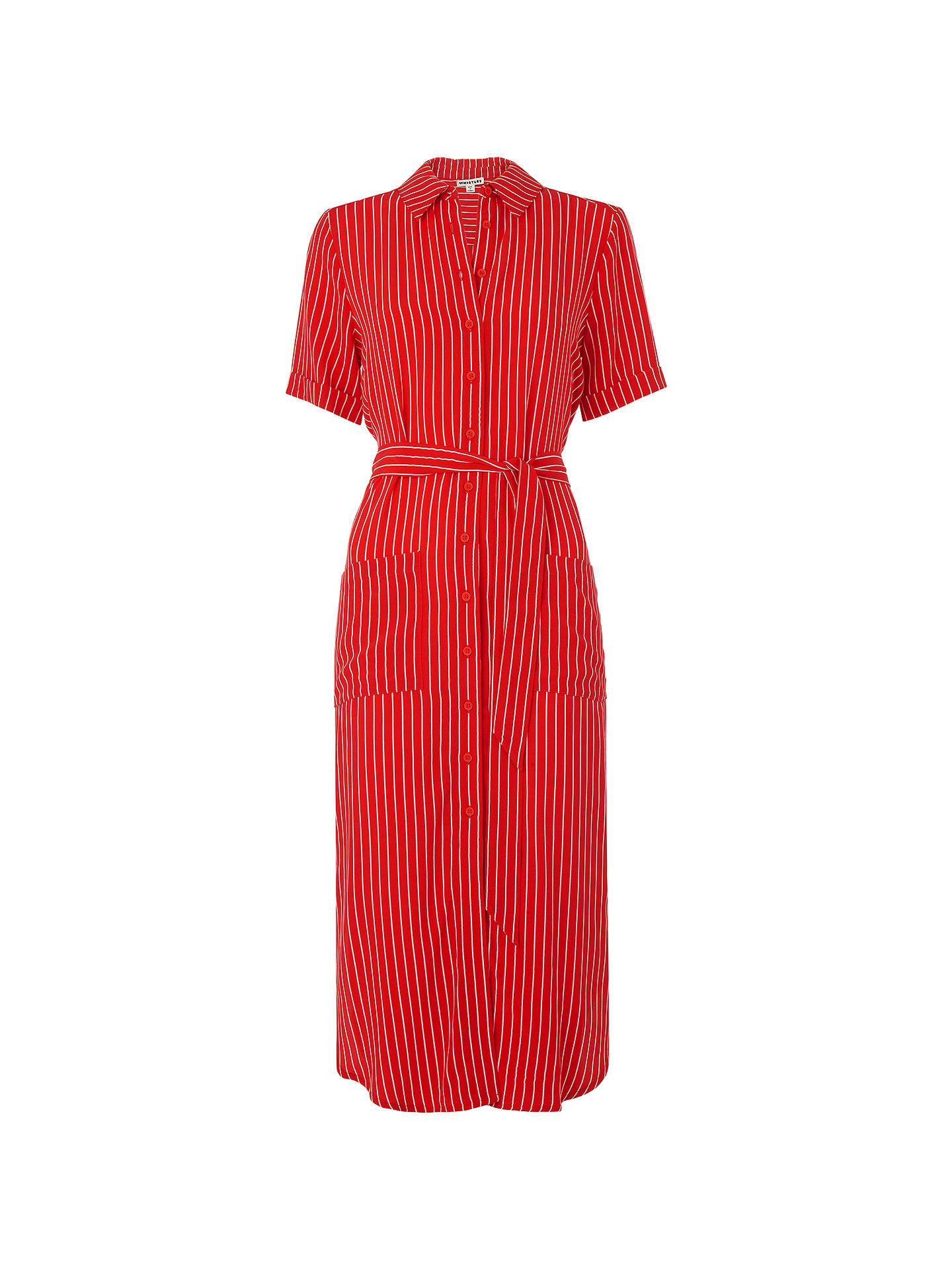 Buy Whistles Montana Shirt Dress, Red/Multi, 6 Online at johnlewis.com