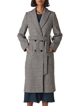 Whistles Penelope Belted Check Coat, Multi