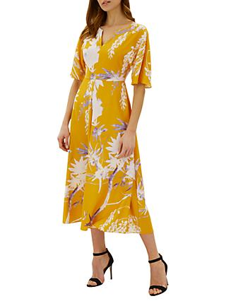 Jaeger Floral Print Kimono Dress, Orange