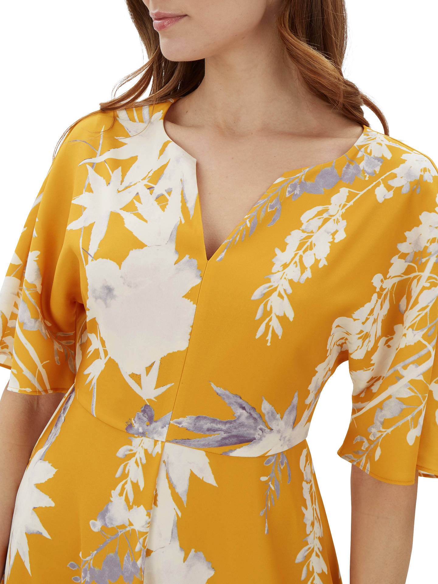 BuyJaeger Floral Print Kimono Dress, Orange, 6 Online at johnlewis.com