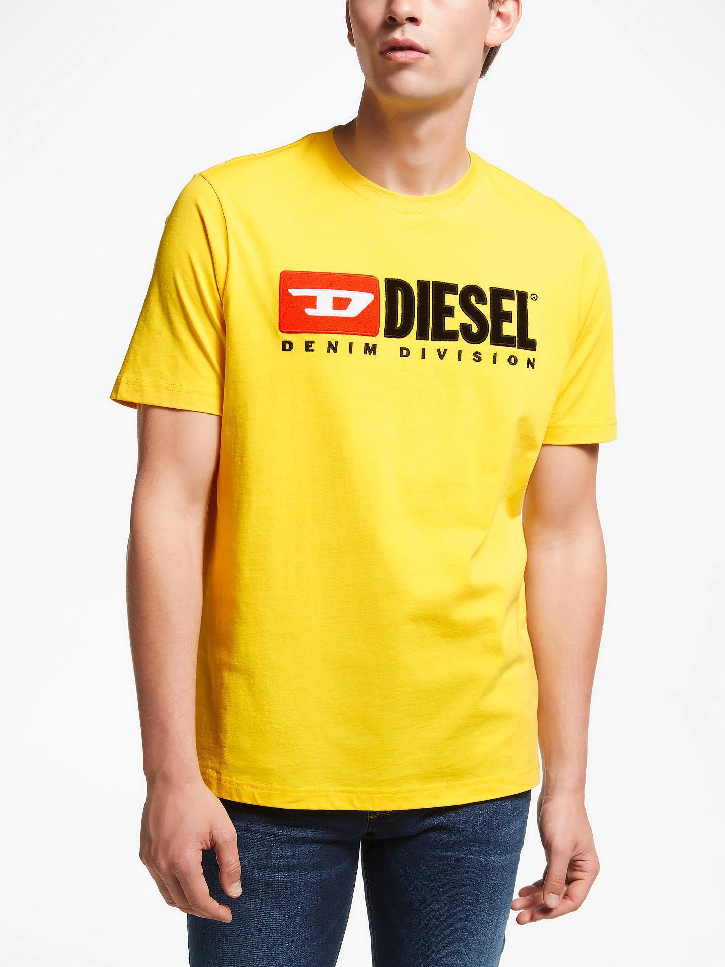 2df44e0b616c61 Diesel T-Just Division Short Sleeve Logo T-Shirt, Yellow at John ...