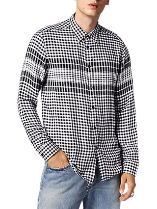 Diesel S-Opera Microcheck Shirt, Black/White