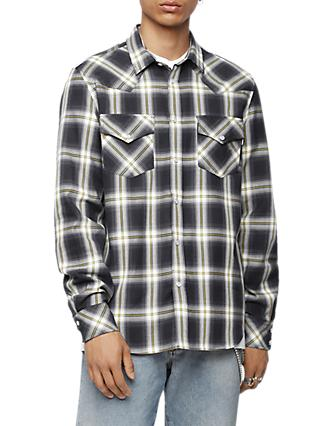 Diesel S-East Long Sleeve Check Shirt, Black/White/Yellow