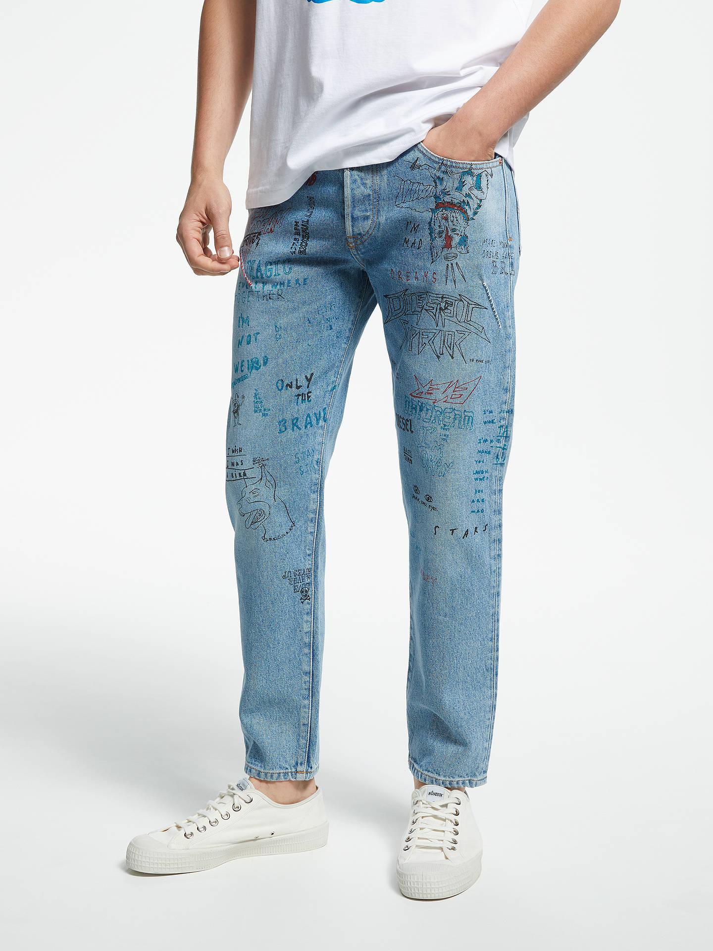 da3e2aea Buy Diesel Mharky Slim Printed Jeans, Blue, 36R Online at johnlewis.com ...