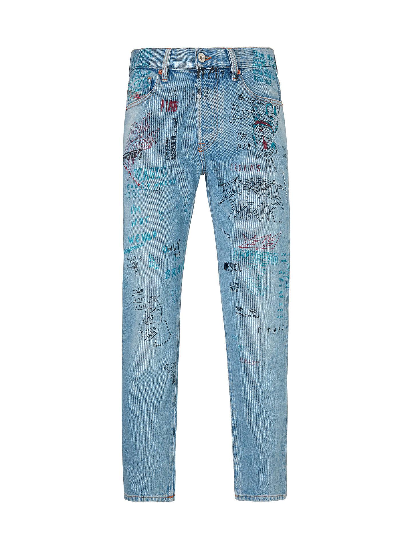 7bd5481a ... Buy Diesel Mharky Slim Printed Jeans, Blue, 36R Online at johnlewis.com  ...