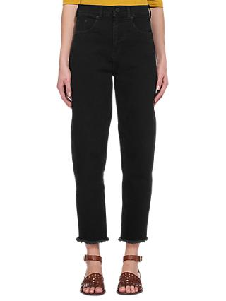 Whistles High Waist Barrel Leg Jeans, Black