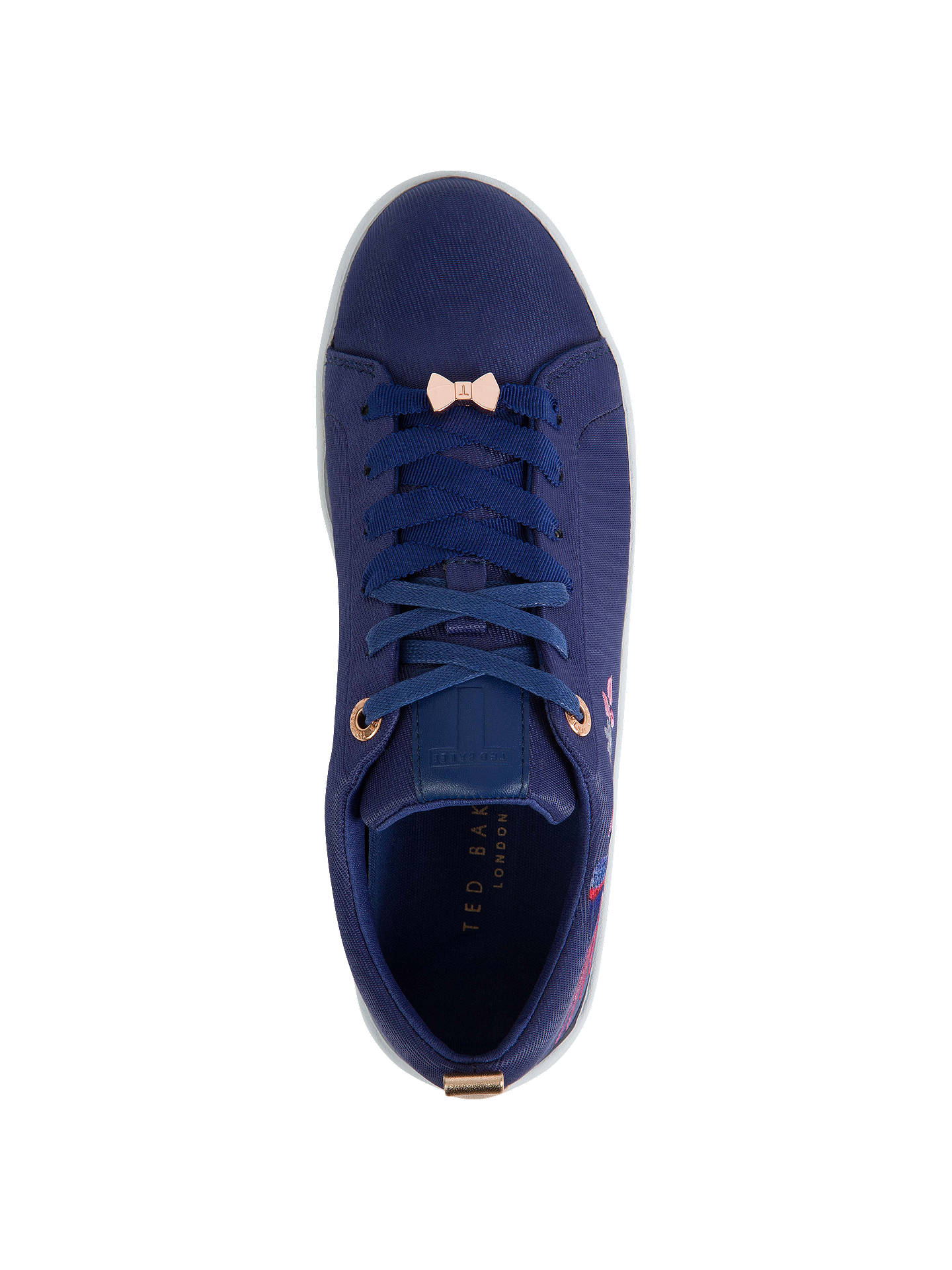 Buy Ted Baker Giellie Bird Lace Up Trainers, Navy, 3 Online at johnlewis.com