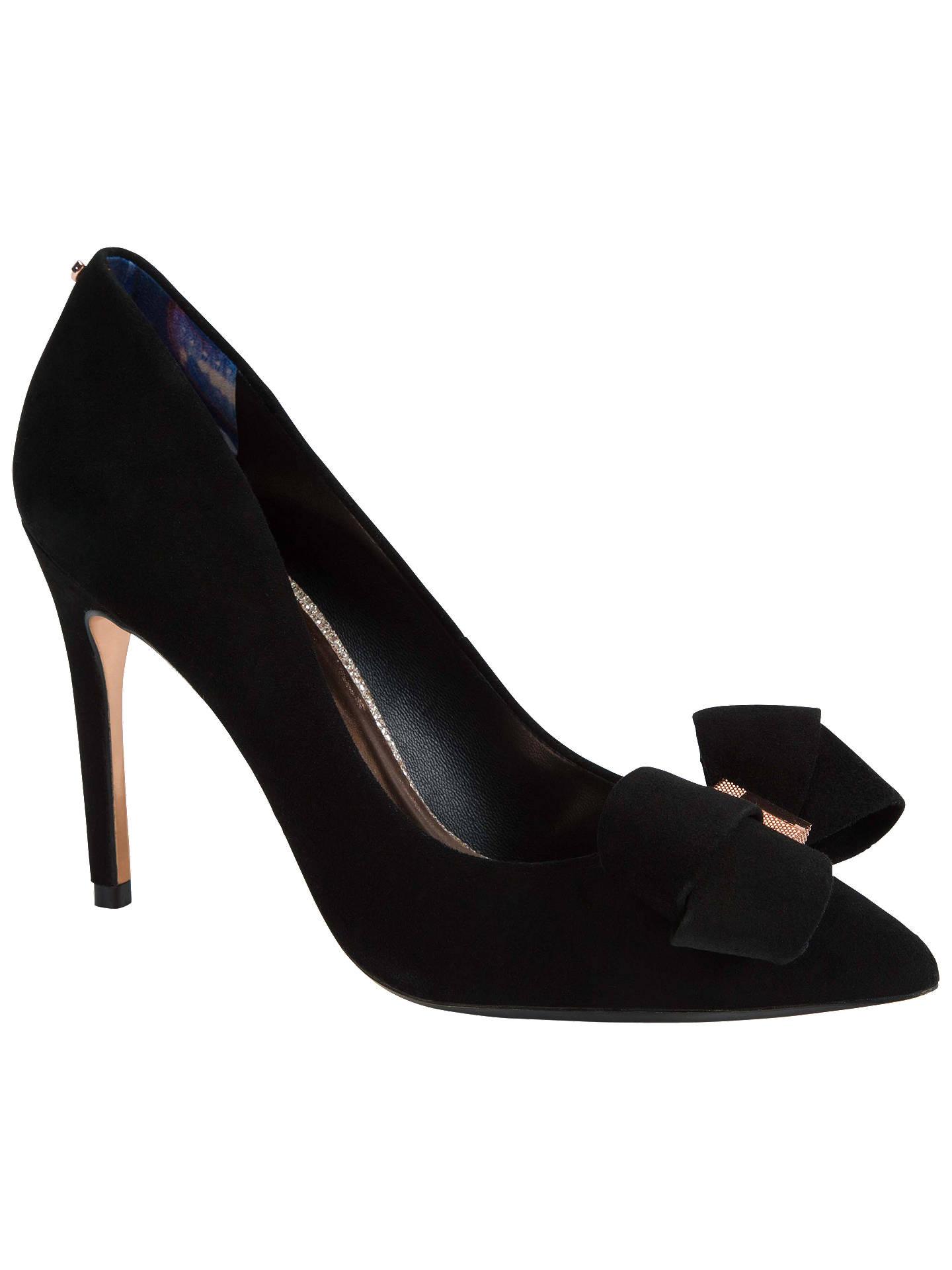 ec0235d2fa ... Buy Ted Baker Skalett Stiletto Heel Bow Court Shoes, Black Satin, 3  Online at