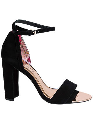 Buy Ted Baker Phanda Block Heel Sandals, Black Suede, 3 Online at johnlewis.com