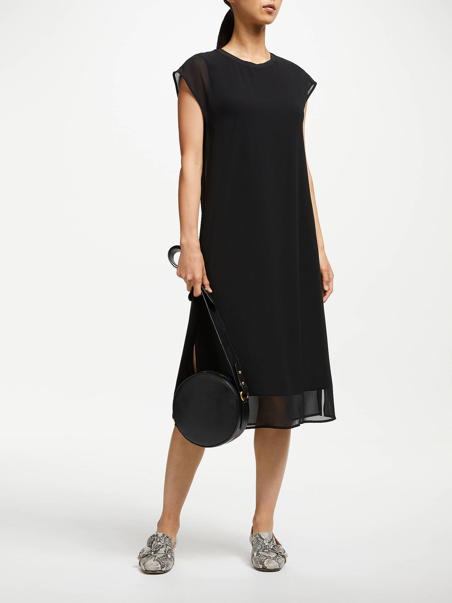 Buy John Lewis & Partners Double Layer Dress, Black, 8 Online at johnlewis.com