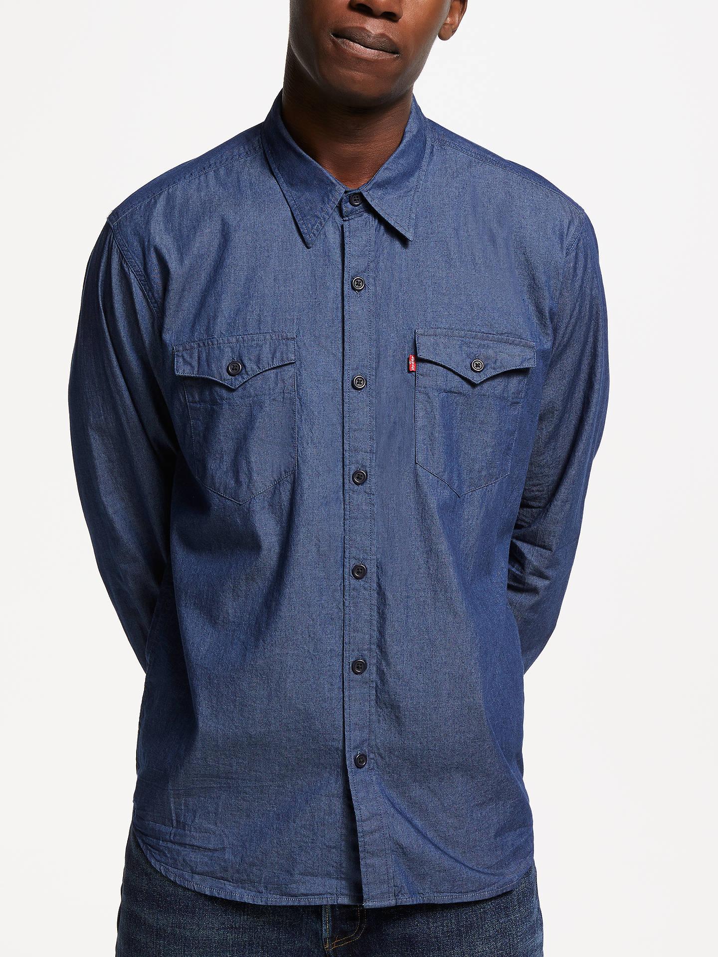 5b10ba009c2 Buy Levi's Barstow Western Denim Shirt, Blue, M Online at johnlewis. ...