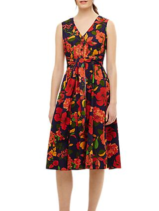 Phase Eight Cilla Floral Fit and Flare Dress, Navy/Multi