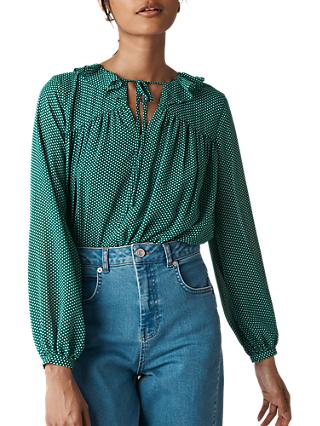Whistles Pascal Spot Cross Back Blouse, Green