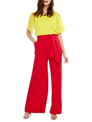 Phase Eight Katie Wide Leg Trousers, Tango Pink