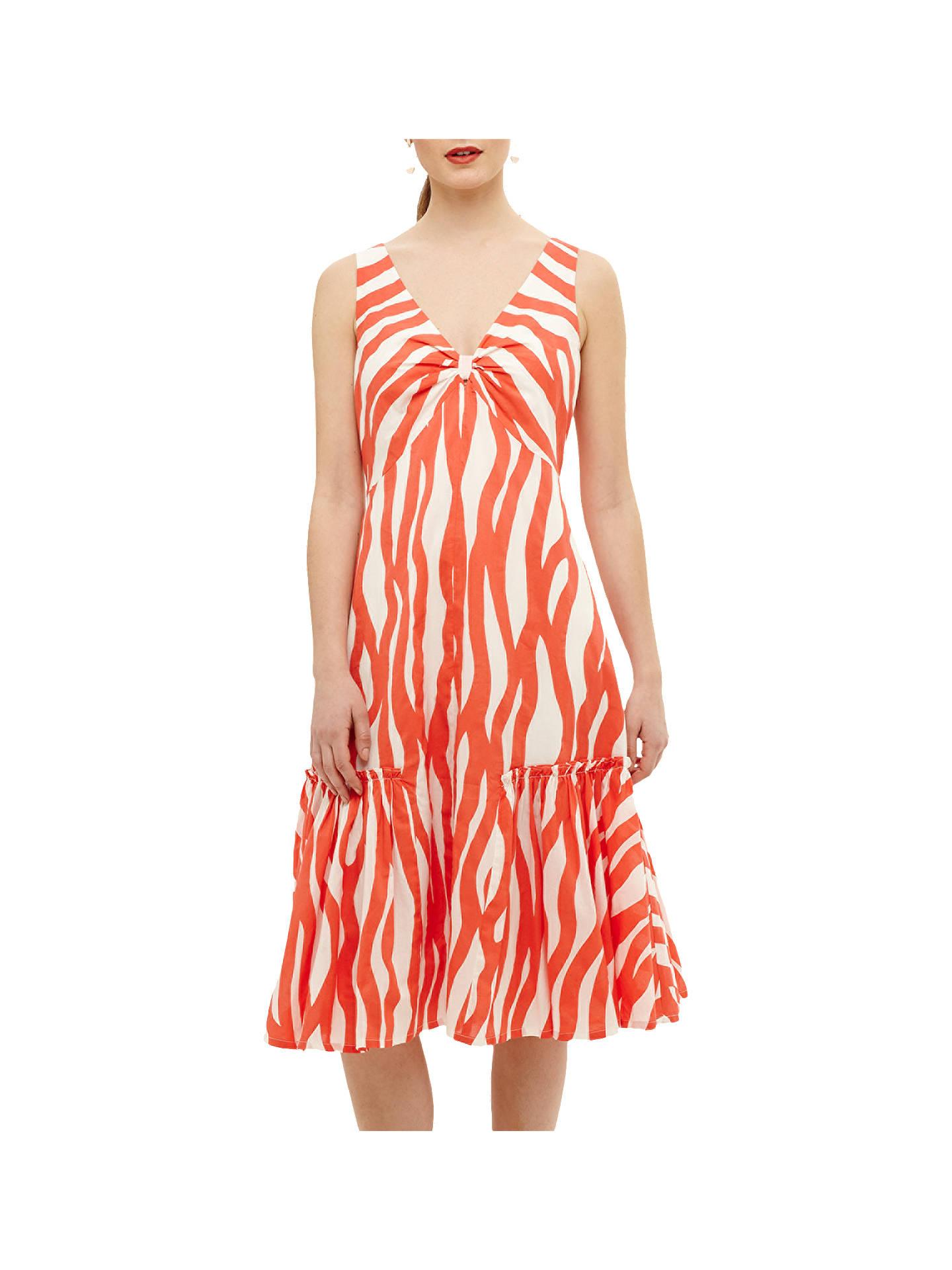 6605a3e511e2f Buy Phase Eight Winona Dress, White/Orange, 8 Online at johnlewis.com ...