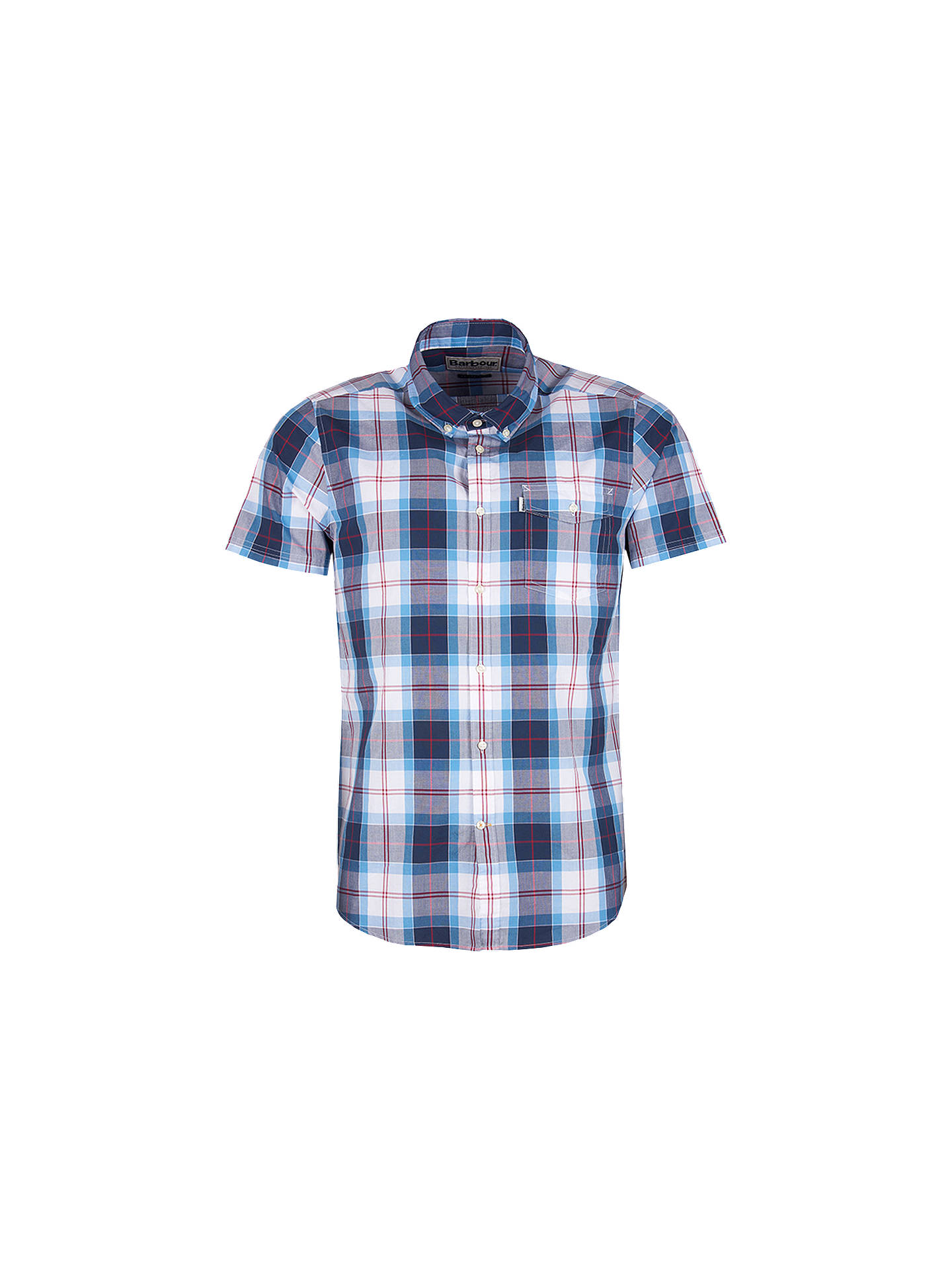 BuyBarbour Cabin Short Sleeve Check Shirt, Mid Blue, S Online at johnlewis.com