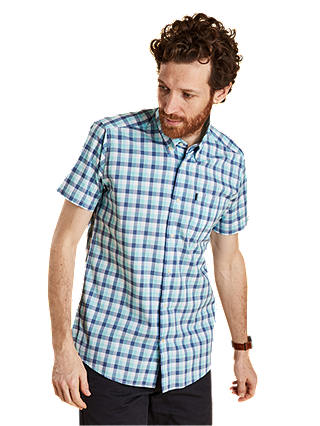 Buy Barbour Barge Short Sleeve Checked Shirt, Aqua, S Online at johnlewis.com