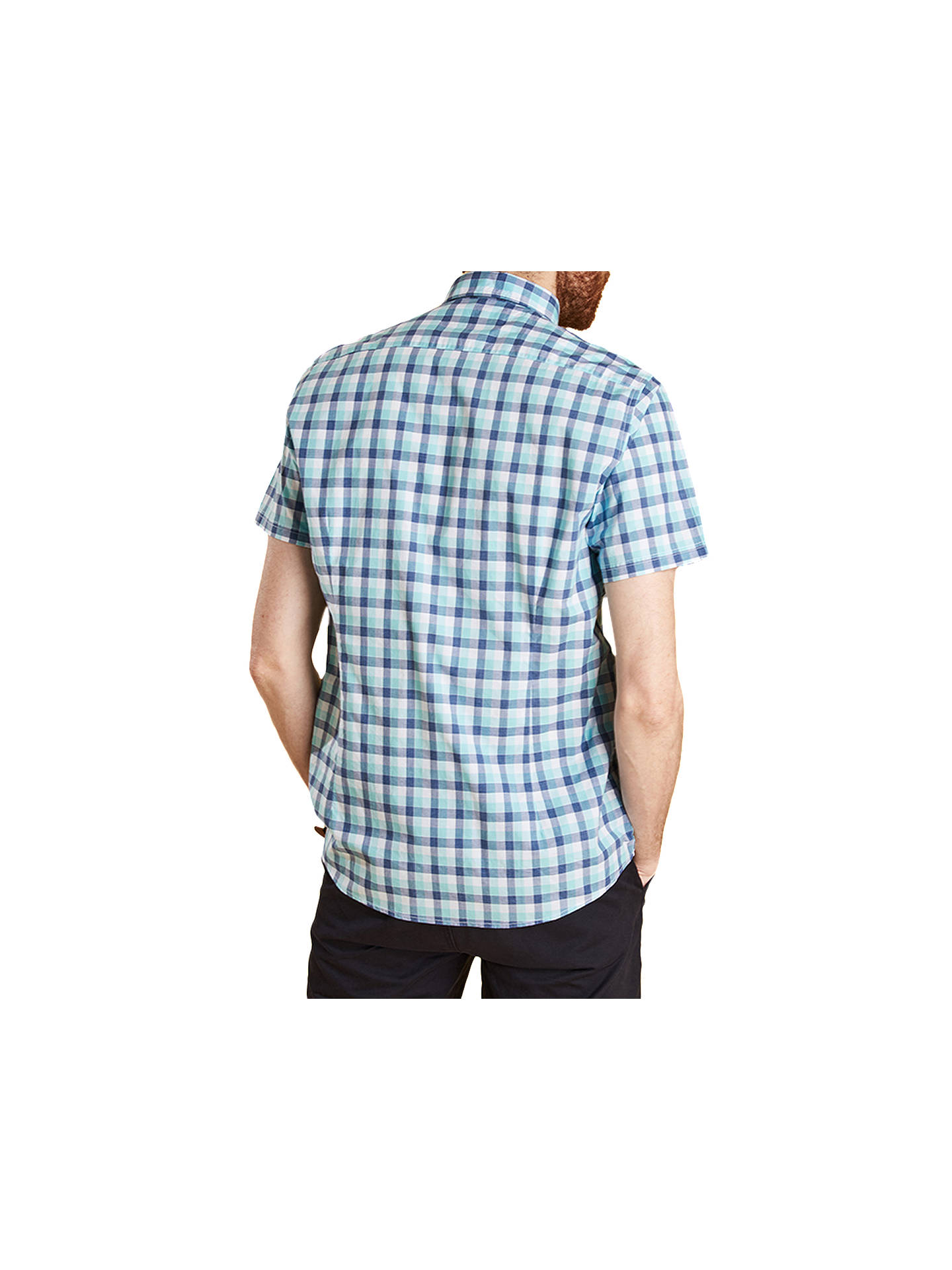 BuyBarbour Barge Short Sleeve Checked Shirt, Aqua, S Online at johnlewis.com