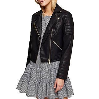 Women Mint Velvet Black Leather Waterfall Jacket P89g6090
