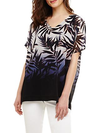 Phase Eight Lizzy Fern Leaf Blouse, Navy/Multi