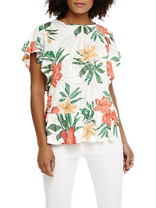 Phase Eight Francisco Floral Burnout T-Shirt, Ivory/Multi
