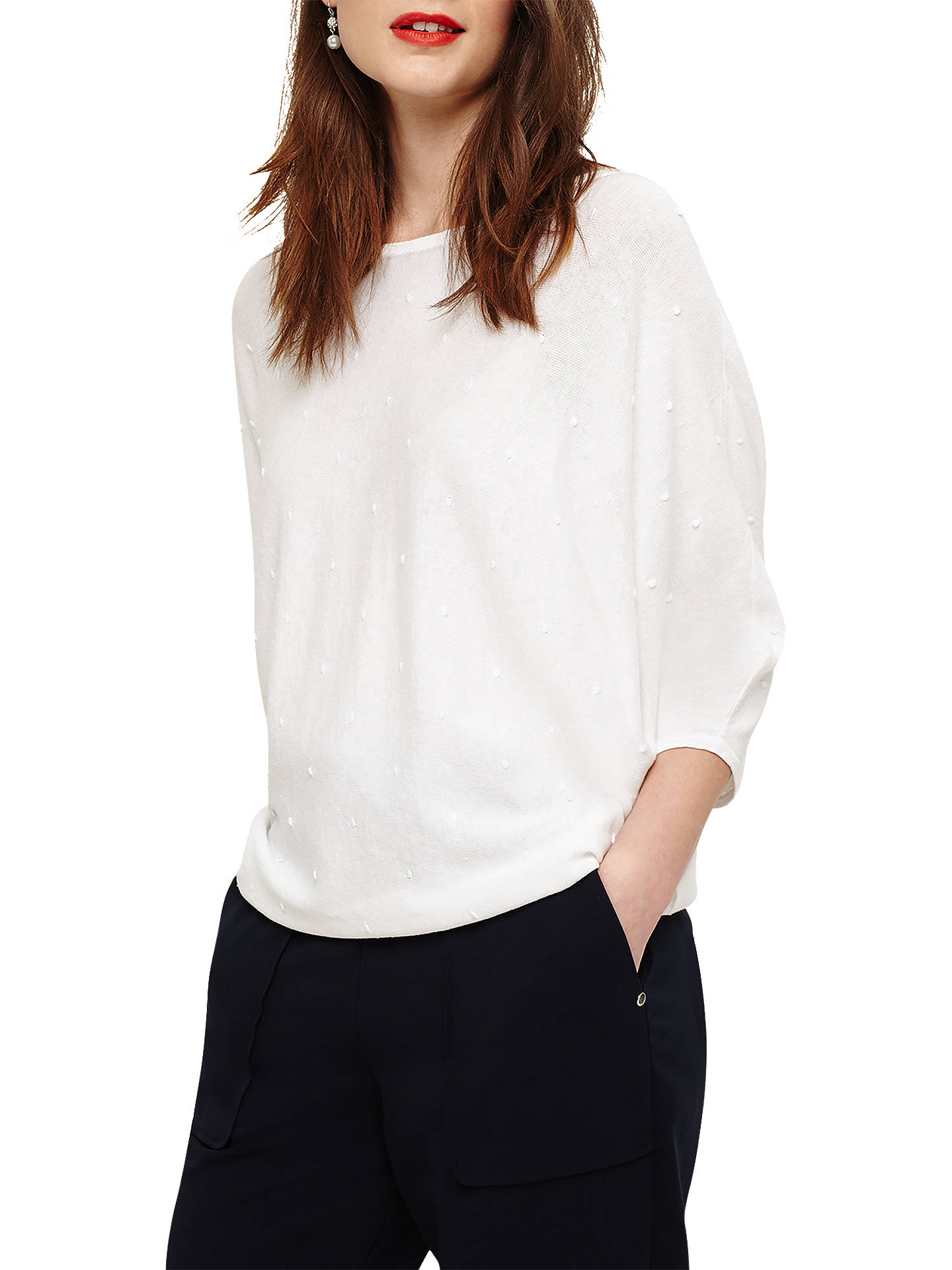Buy Phase Eight Becca Spot Stitch Batwing Jumper, White, XS Online at johnlewis.com