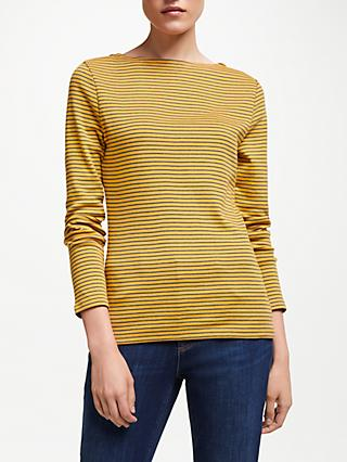 John Lewis & Partners Long Sleeve Boat Neck Stripe T-Shirt