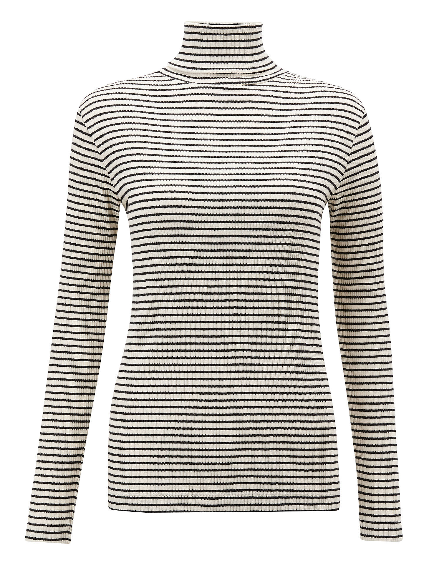 BuyJohn Lewis & Partners Stripe Rib Roll Neck Jumper, Ivory/Black, 8 Online at johnlewis.com