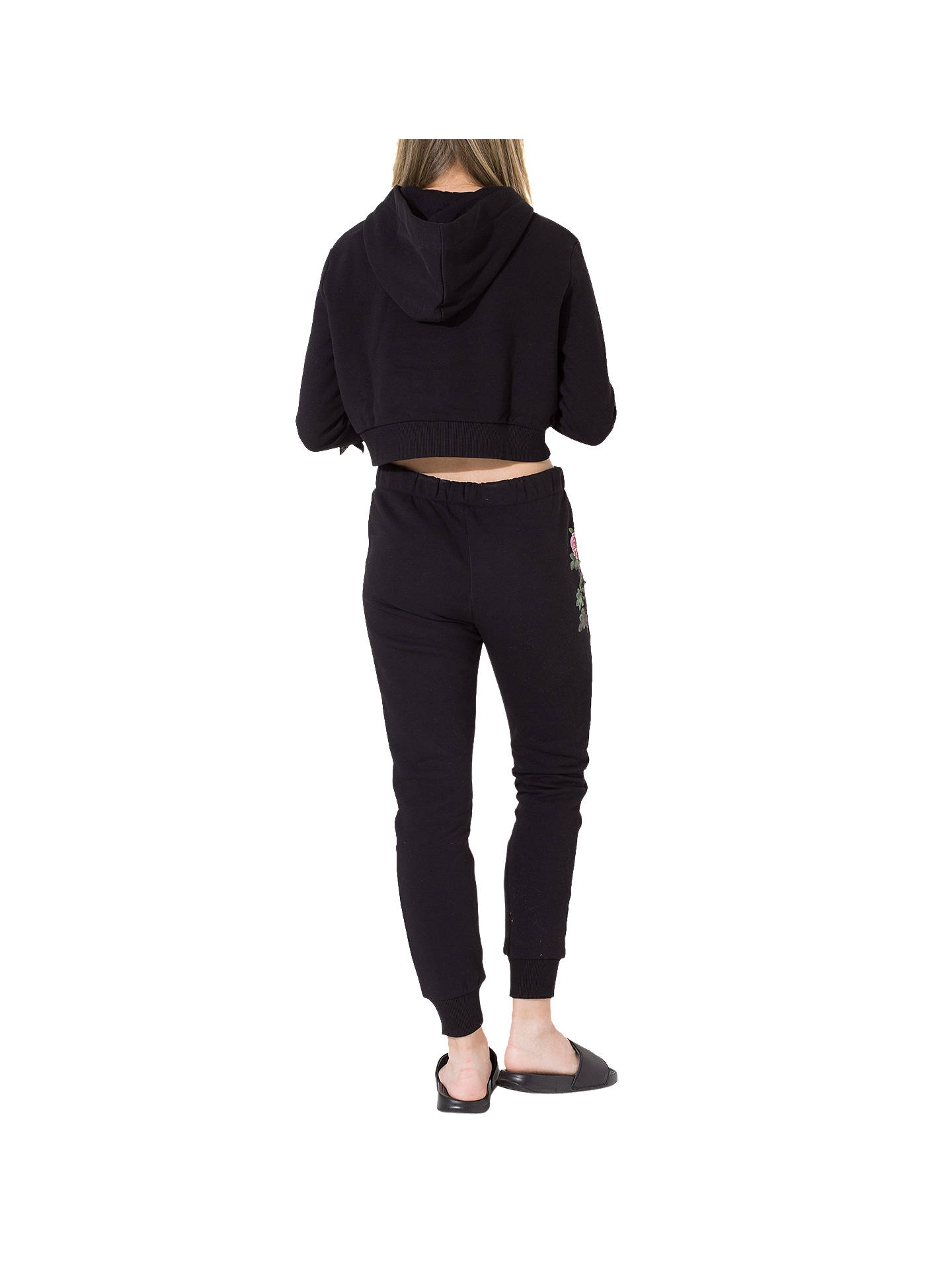 481f0188154 ... Buy Hype Girls' Butterfly Embroidered Crop Hoodie, Black, 7-8 years  Online