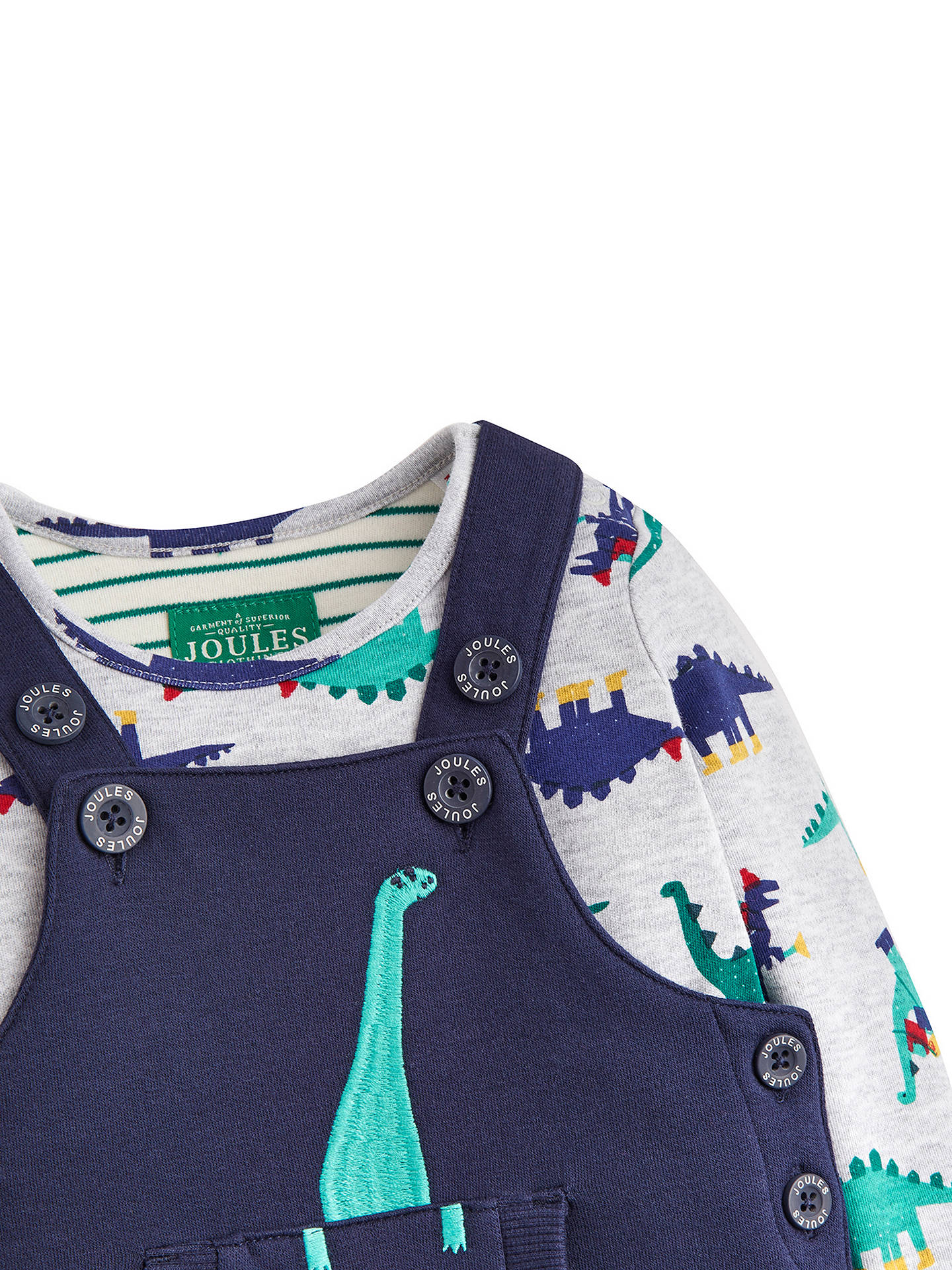Buy Baby Joule Dinosaur Dungaree and T-Shirt Set, Navy, 0-3 months Online at johnlewis.com