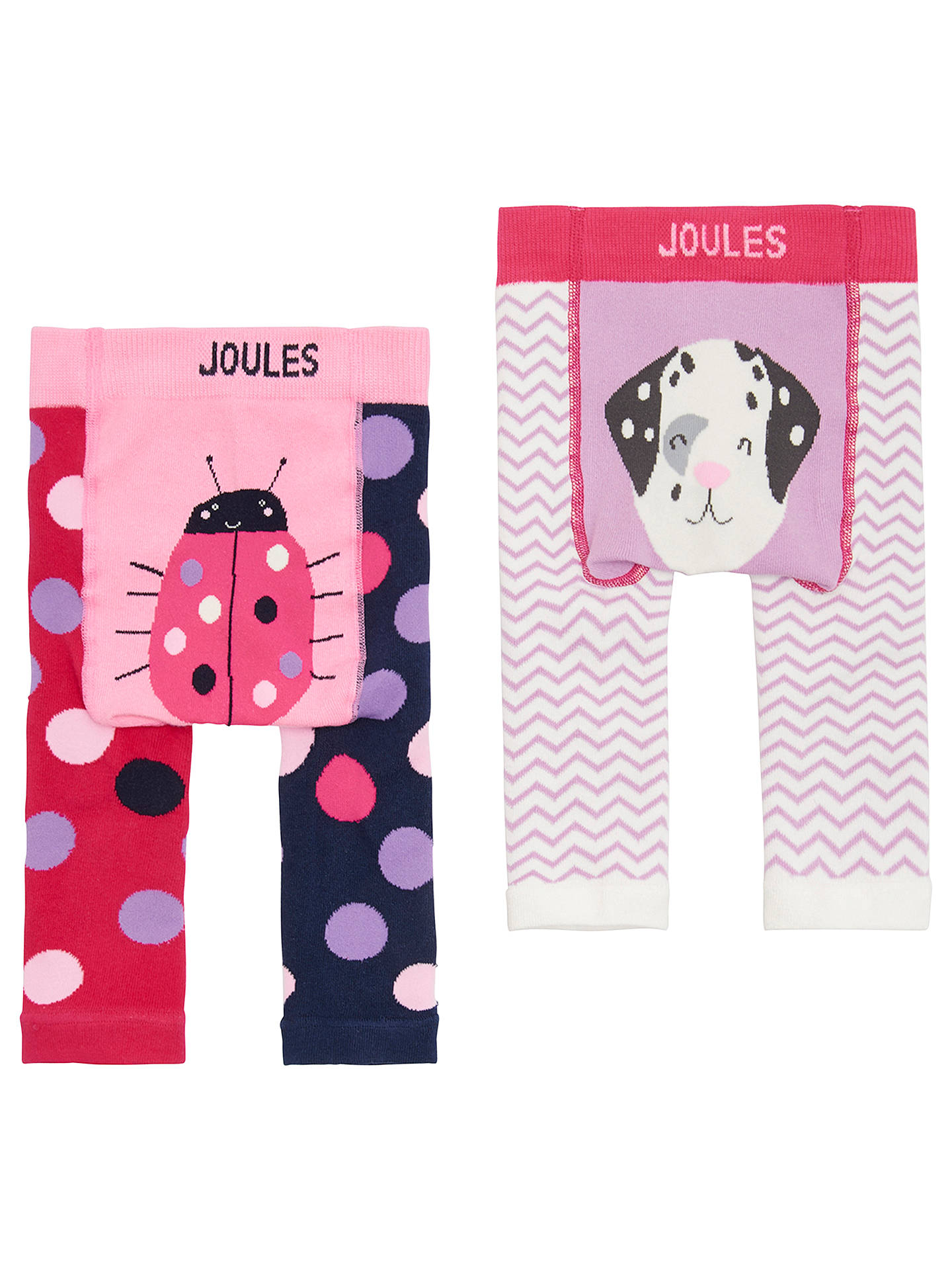 BuyBaby Joule Lively Legs Dalmatian Leggings, Pack of 2, Pink, 0-6 months Online at johnlewis.com