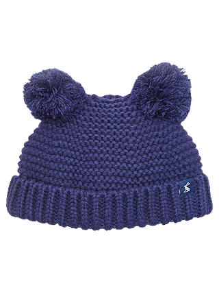 Buy Baby Joule Knitted Pom Pom Hat, Navy, 0-6 months Online at johnlewis.com