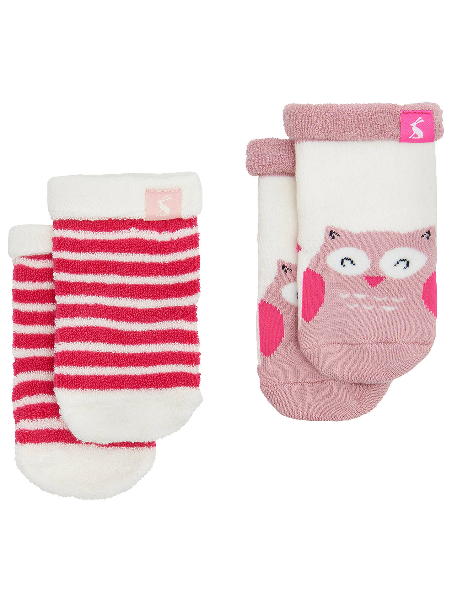 Buy Baby Joule Terry Owl Socks, Pack of 2, Pink, 0-6 months Online at johnlewis.com