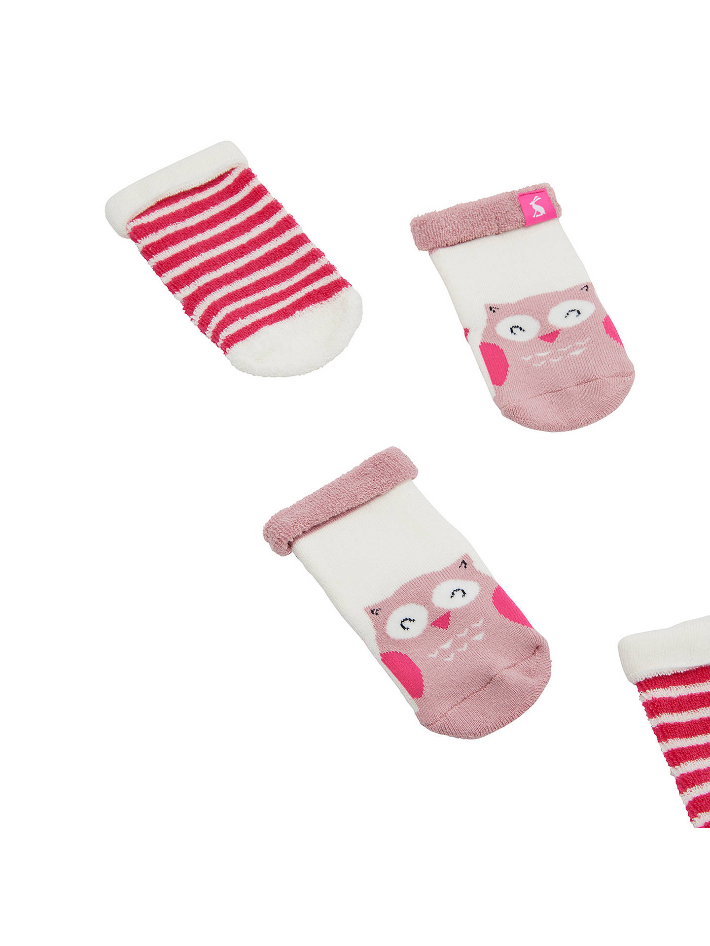 BuyBaby Joule Terry Owl Socks, Pack of 2, Pink, 0-6 months Online at johnlewis.com