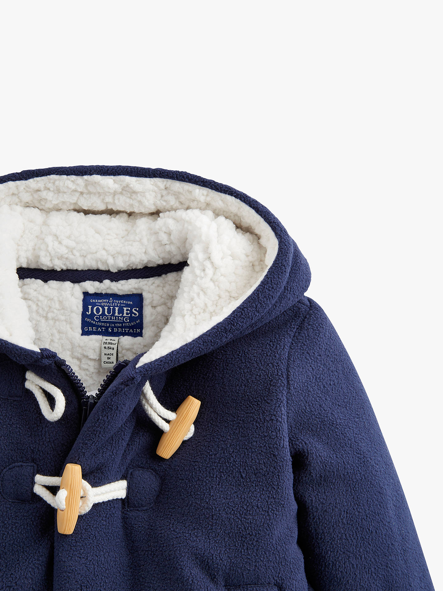 Buy Baby Joule Jem Fleece Lined Duffle Coat, Navy, 0-3 months Online at johnlewis.com