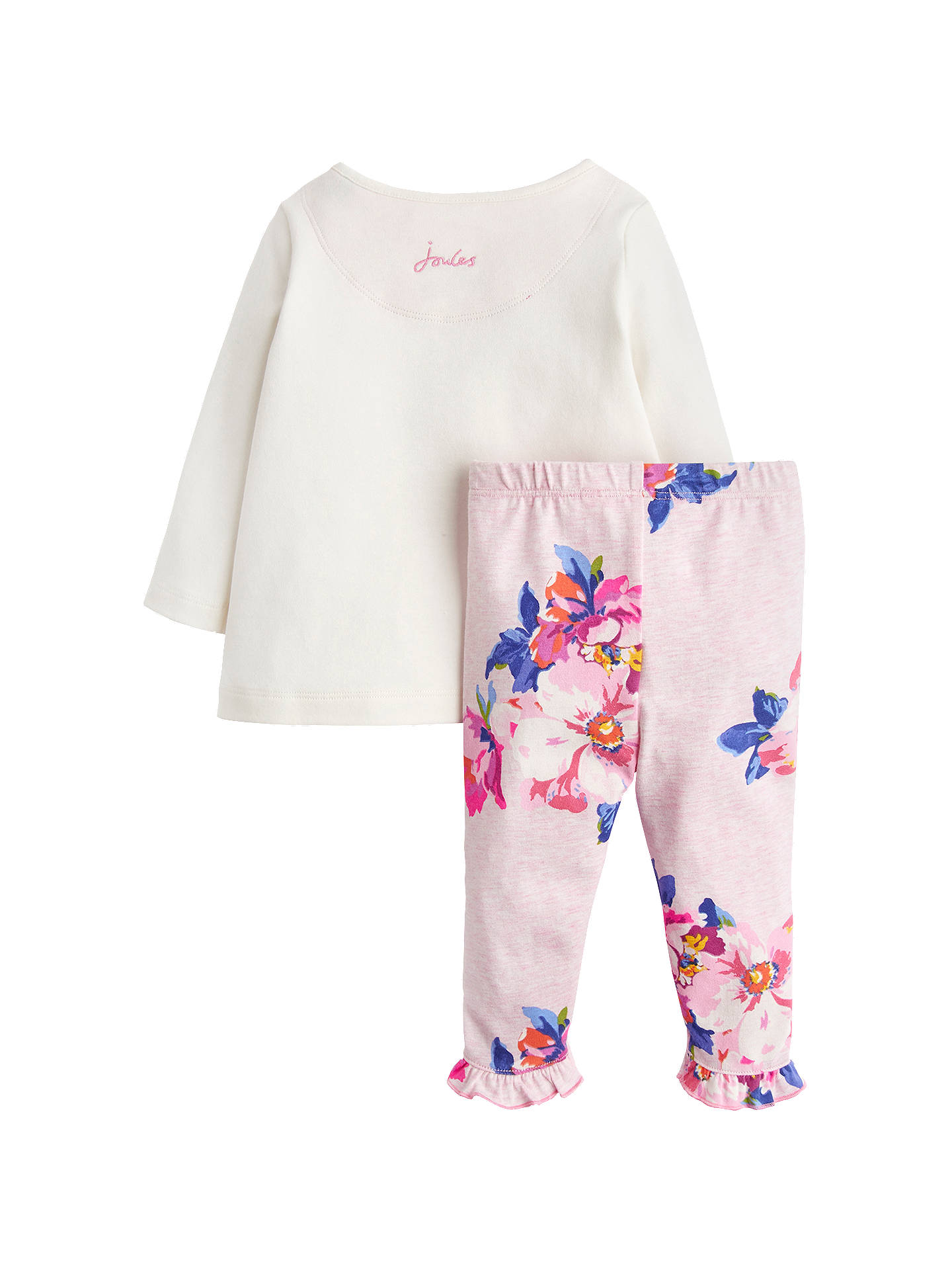 Buy Baby Joule Poppy Bear Two Piece T-Shirt and Leggings Set, Cream/Pink, 6-9 months Online at johnlewis.com