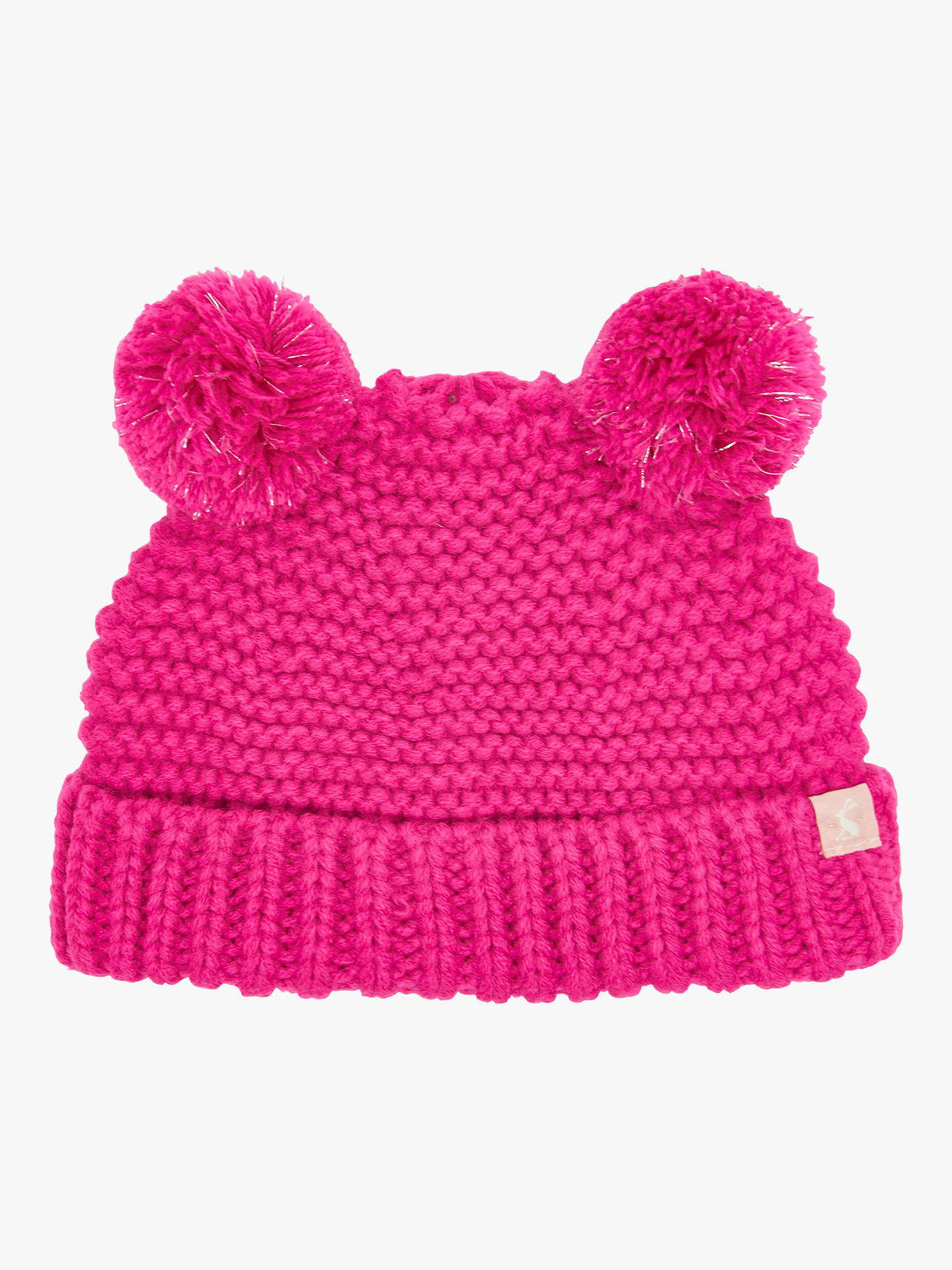 BuyBaby Joule Knitted Pom Pom Hat, Bright Pink, 0-6 months Online at johnlewis.com