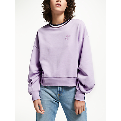 Lee Bell Sleeve Cotton Sweatshirt, Pale Purple