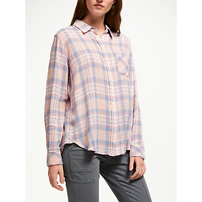 Rails Charli Plaid Shirt, Peach Blush/Blue