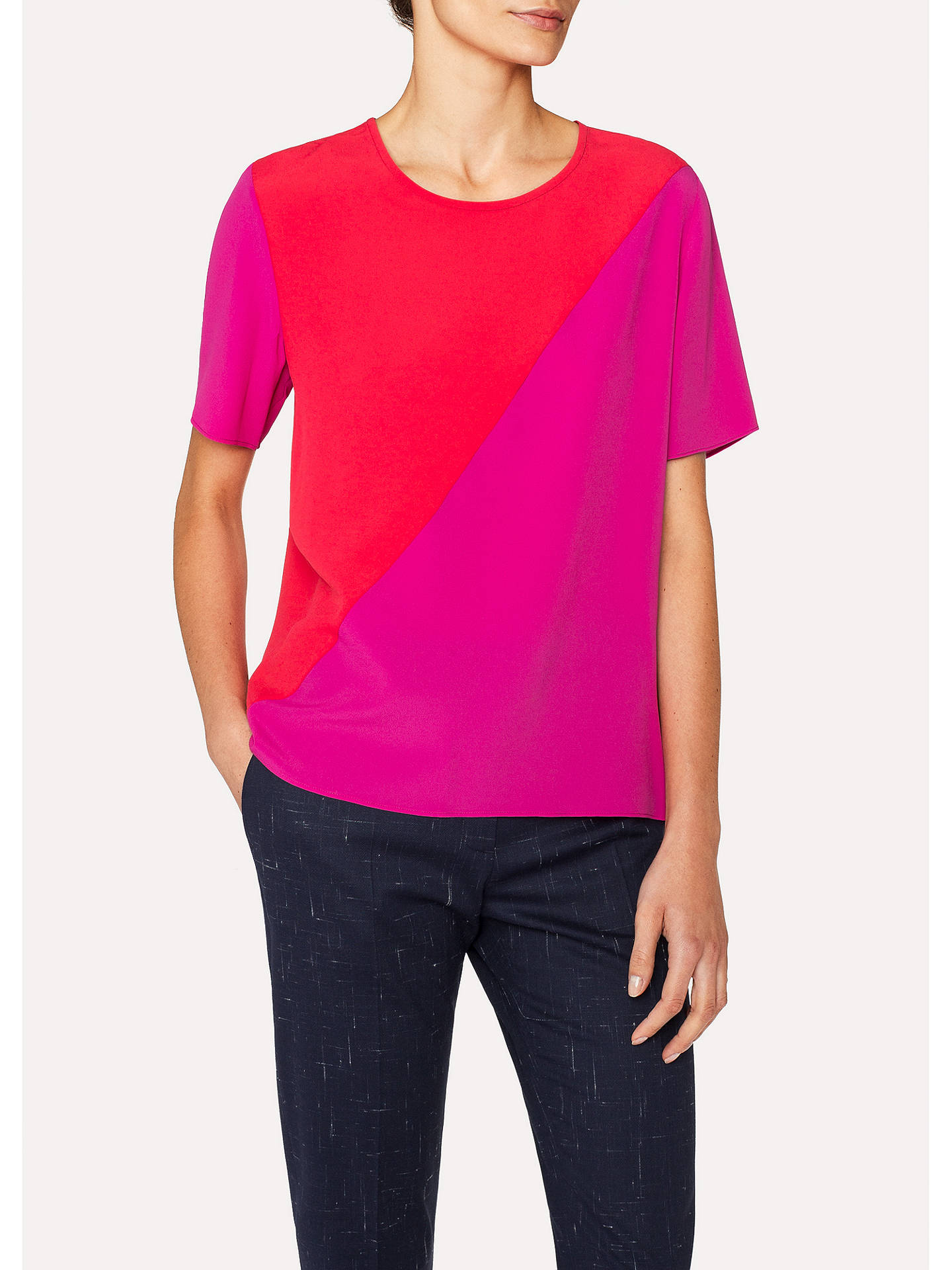 BuyPS Paul Smith Colour Block Top, Pink, 8 Online at johnlewis.com