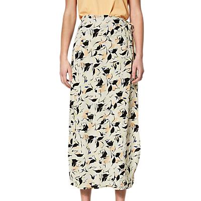 Selected Femme Flori Print Wrap Ankle Skirt, Sand Dollar