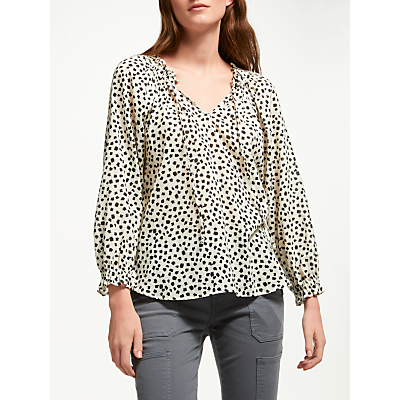 Velvet by Graham & Spencer Freya Calla Print Top, Black/Ivory