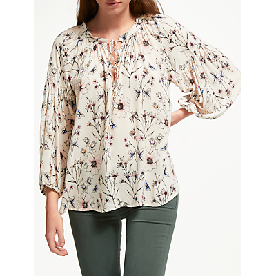 Velvet by Graham & Spencer Sandrine Flora Print Blouse, Nude Pink