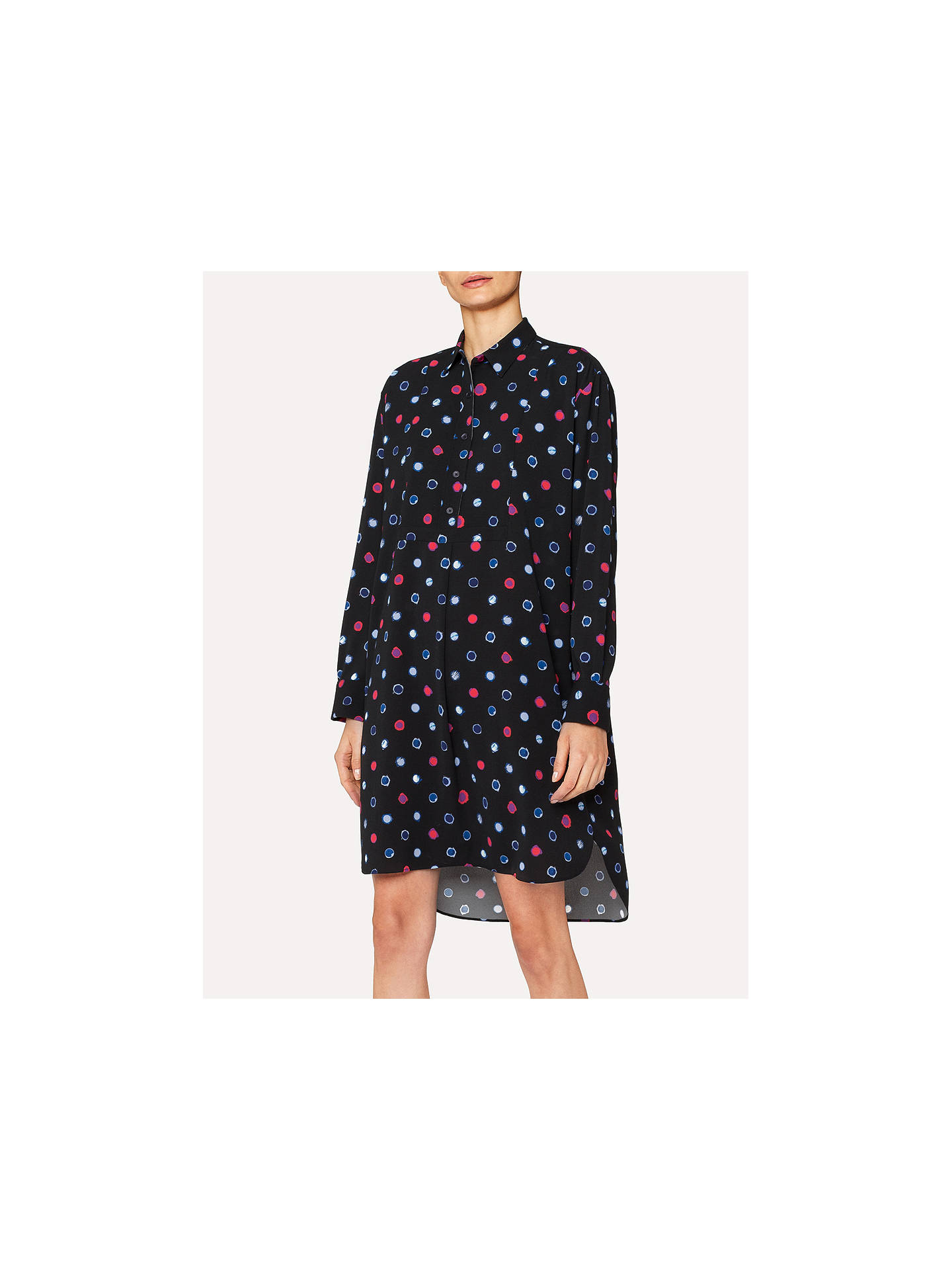 Buy PS Paul Smith Scribble Spot Print Shirt Dress, Black, 12 Online at johnlewis.com