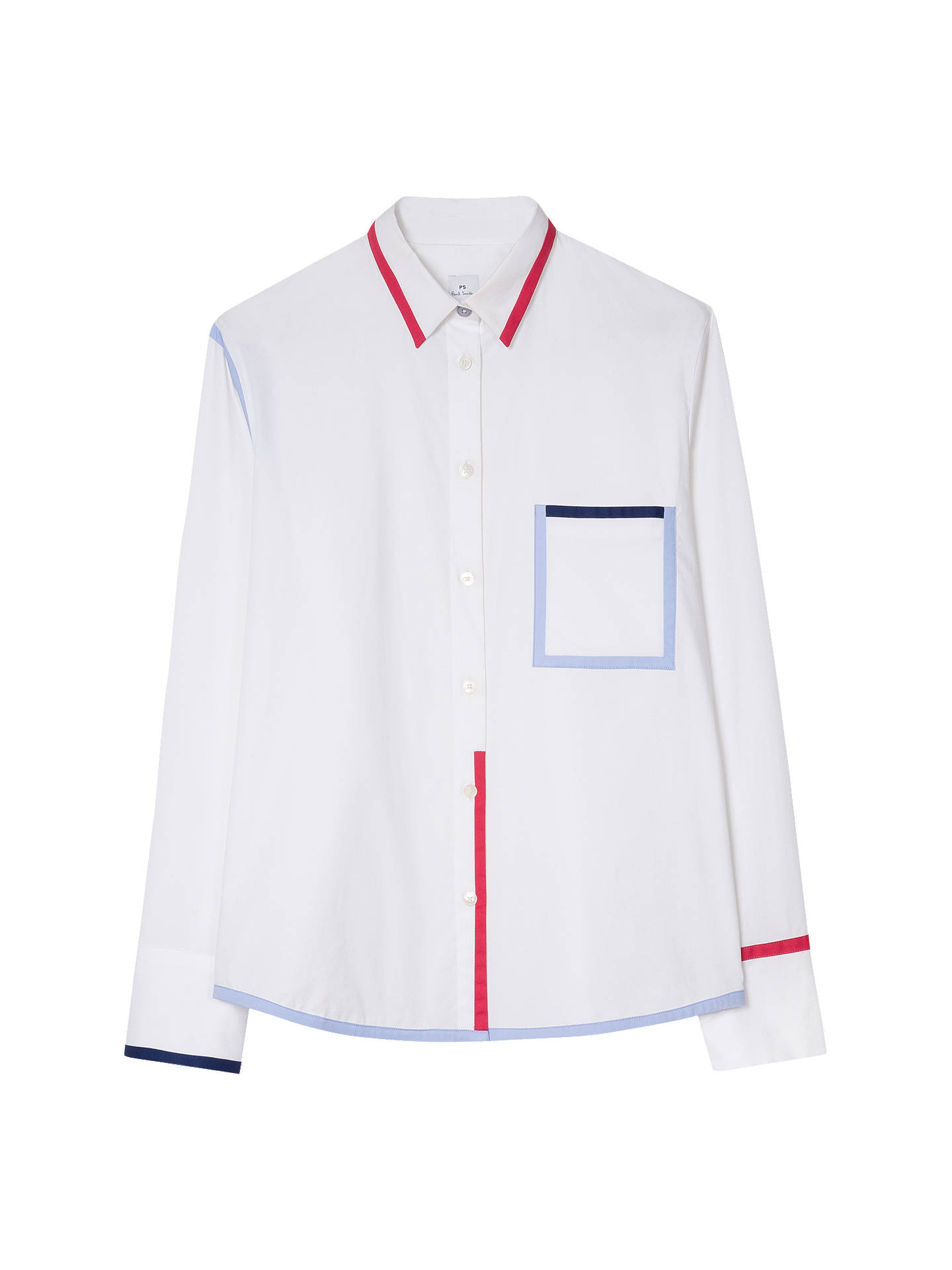 Buy PS Paul Smith Trim Detail Shirt, White, 8 Online at johnlewis.com