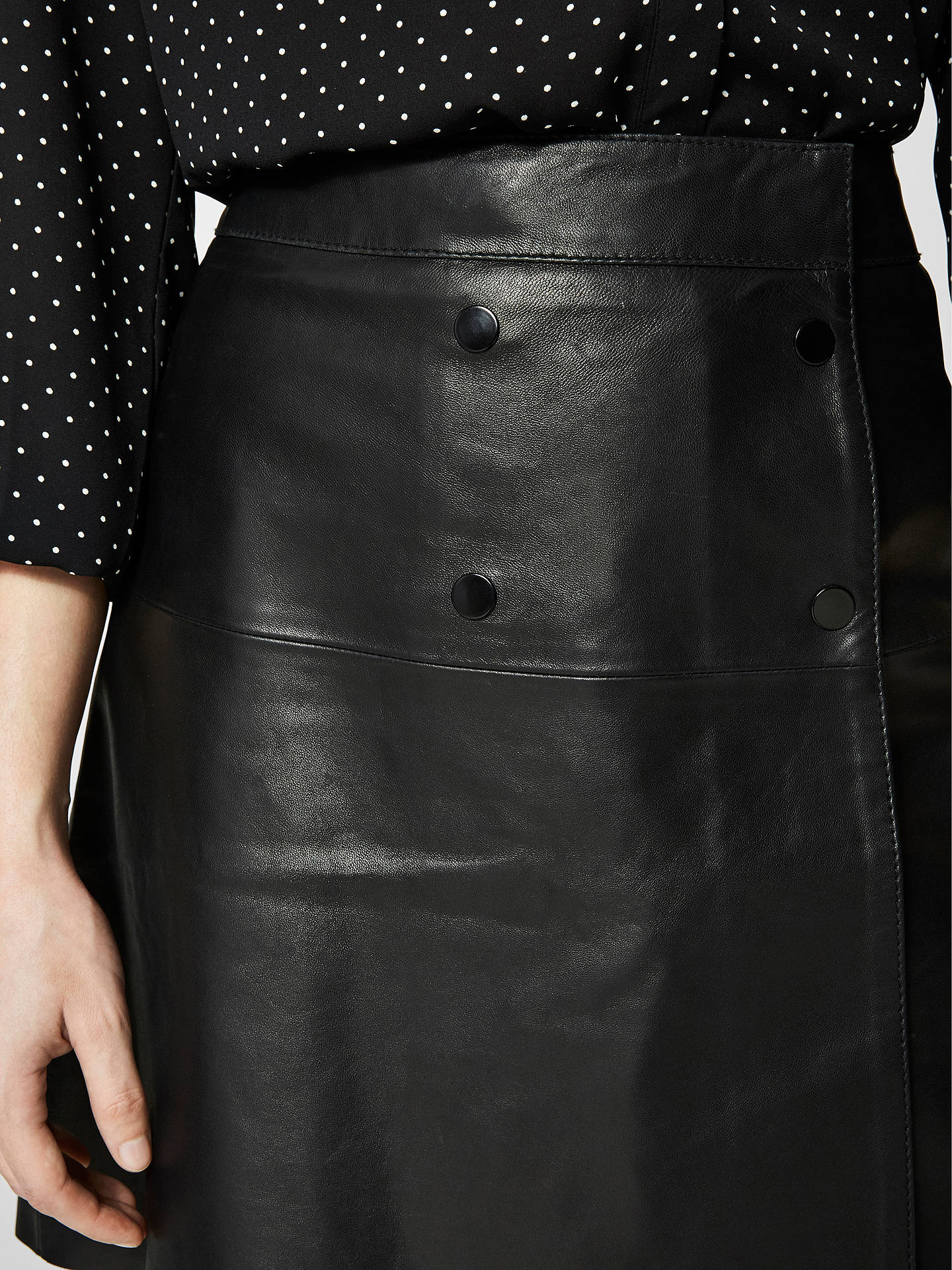 BuySelected Femme Zadig Leather Skirt, Black, 8 Online at johnlewis.com