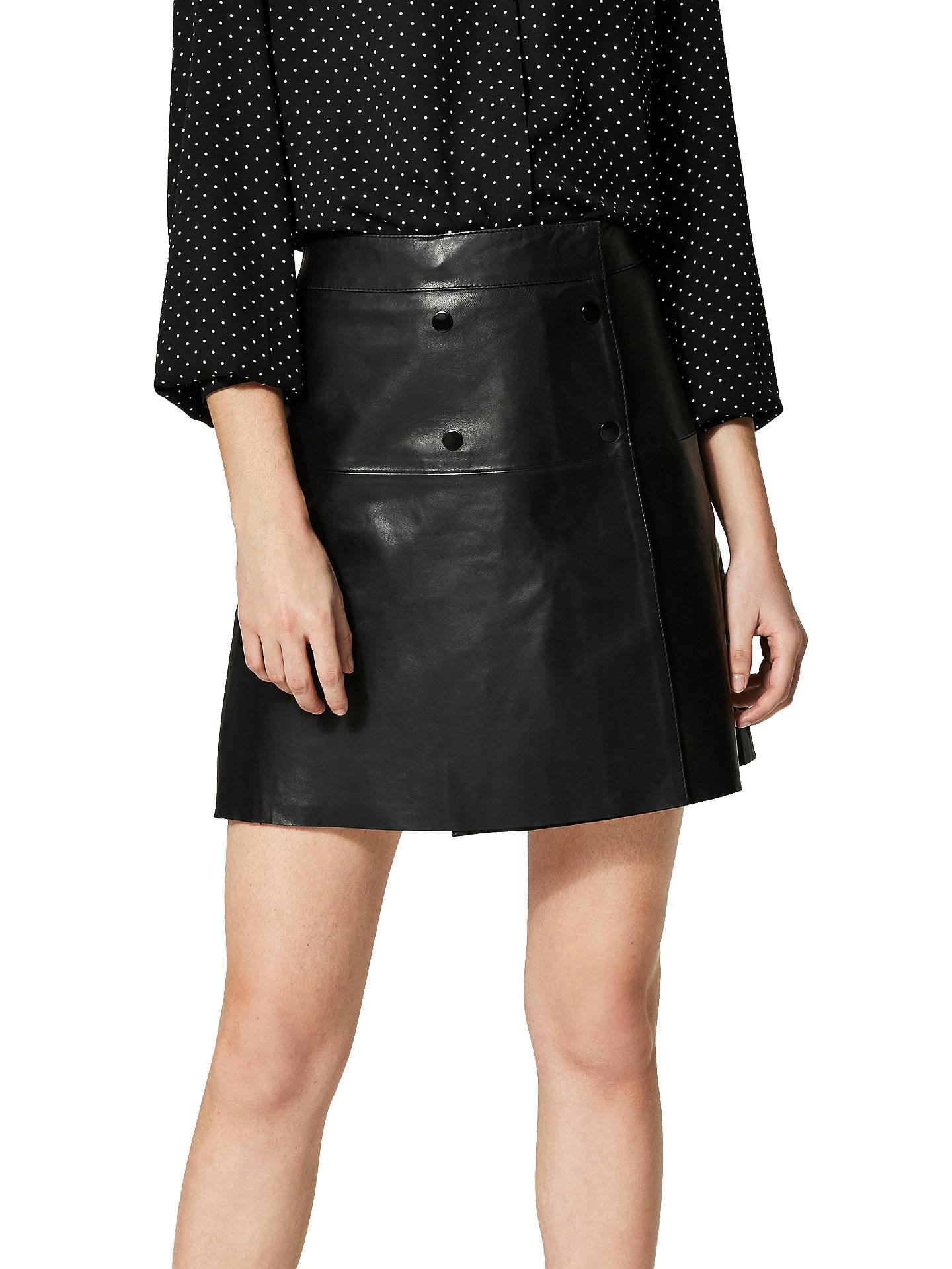 e6c36fed41 Buy Selected Femme Zadig Leather Skirt, Black, 8 Online at johnlewis.com ...