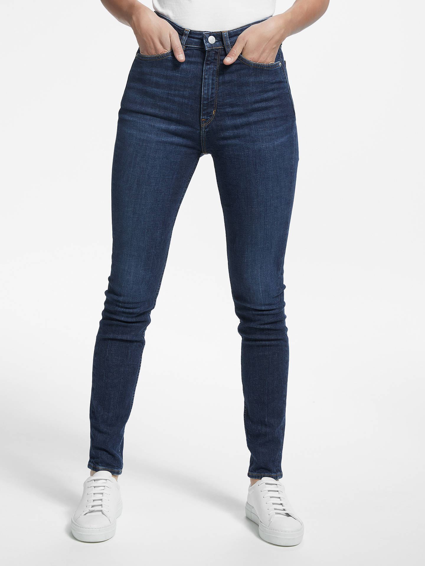 Buy Calvin Klein High Rise Skinny Jeans, Amsterdam Dark Blue, W27/L30 Online at johnlewis.com